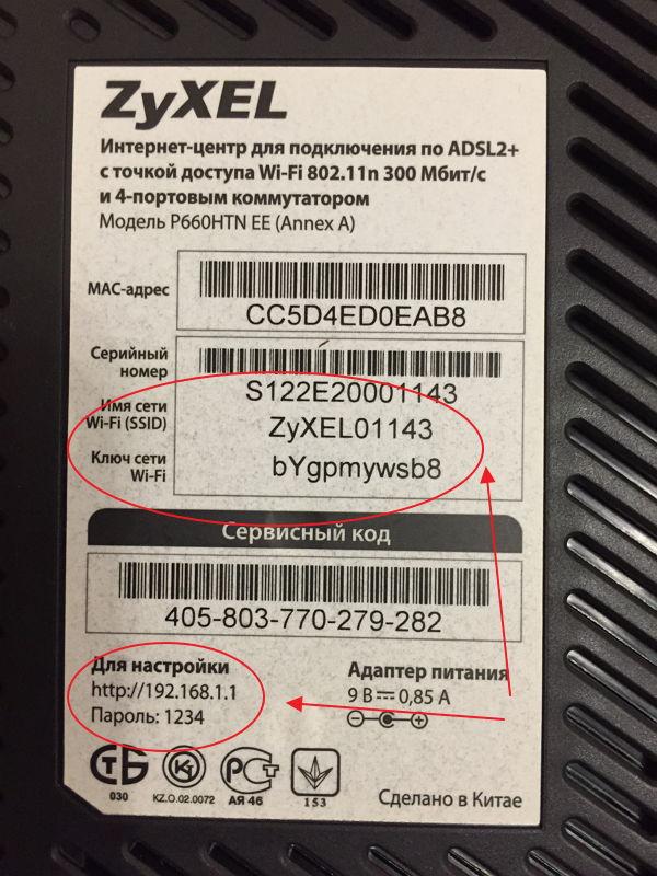 Наклейка на корпусе роутера с данными для авторизации на 192.168.1.1 по admin admin